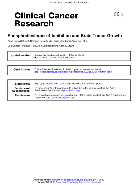 PDF) Phosphodiesterase-4 Inhibition and Brain Tumor Growth