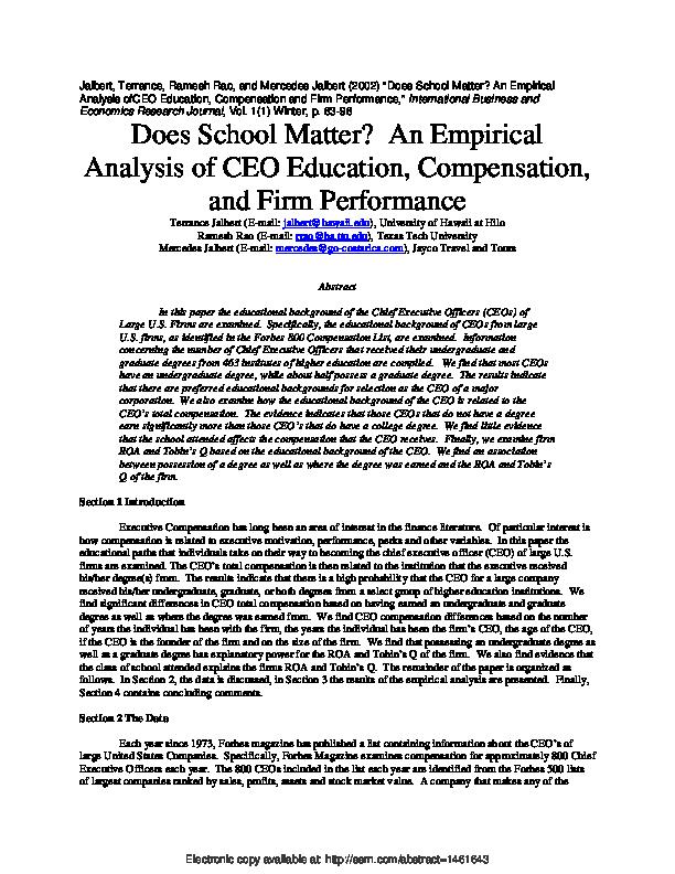 PDF) Does School Matter? An Empirical Analysis Of CEO
