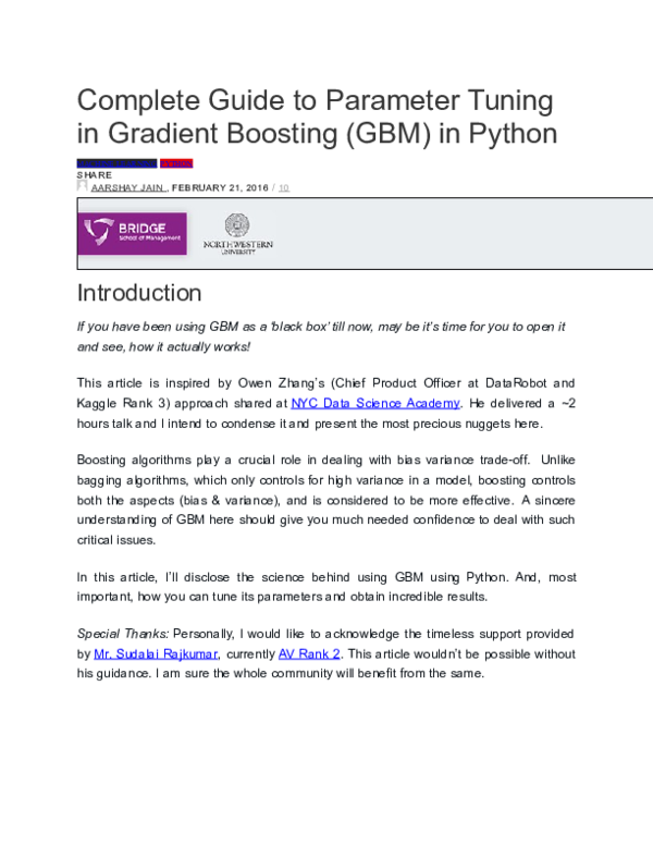 DOC) Complete Guide to Parameter Tuning in Gradient Boosting (GBM