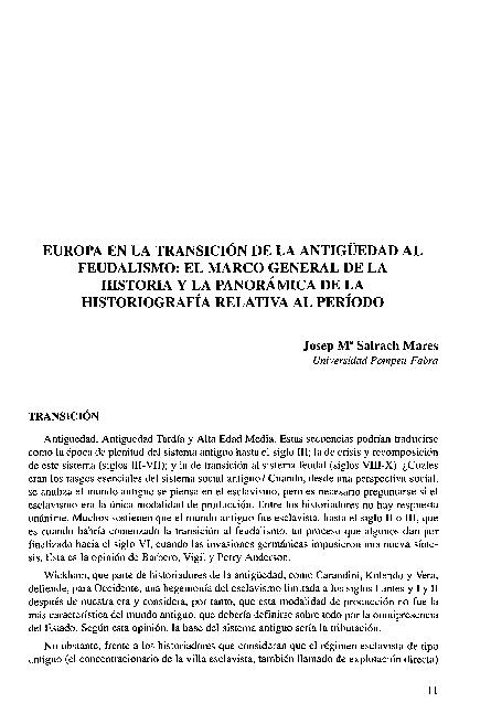 Pdf Europa En La Transición De La Antigüedad Al Feudalismo