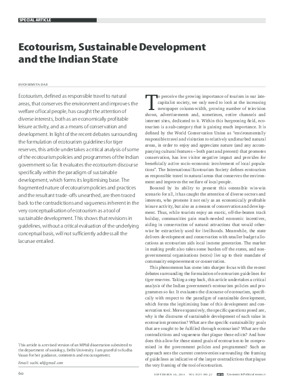 PDF) Ecotourism, Sustainable Development and the Indian