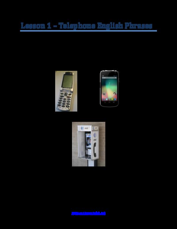 PDF) Lesson 1 – Telephone English Phrases | borin nget