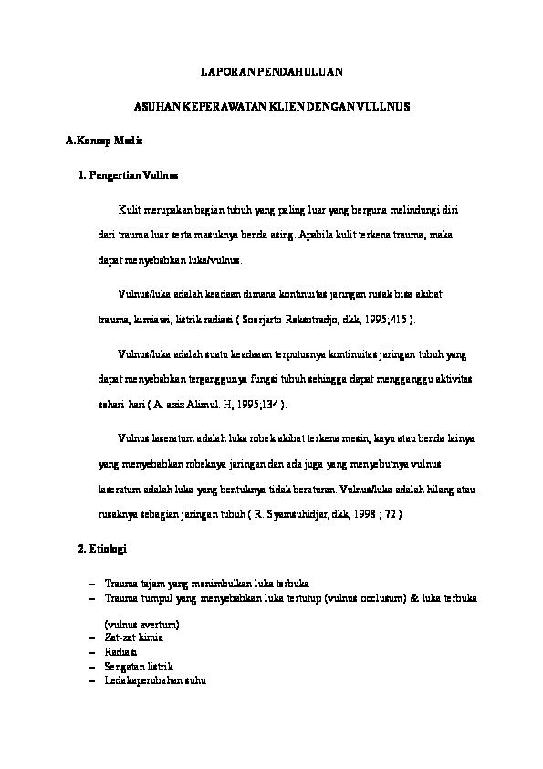 Laporan Pendahuluan Vulnus Laceratum Pdf Download Erpoheadbe S Ownd