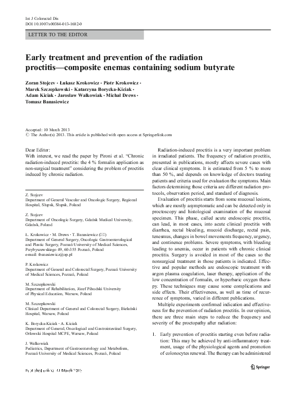 PDF) Early treatment and prevention of the radiation