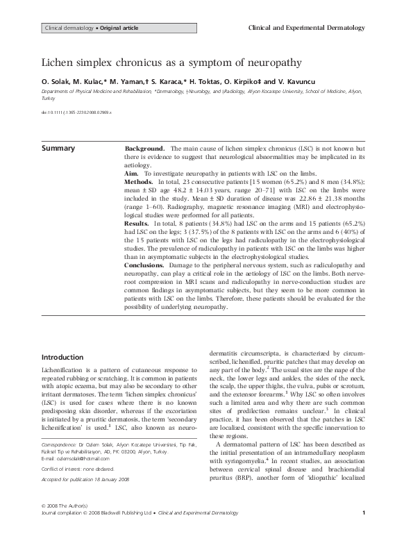 PDF) Lichen simplex chronicus as a symptom of neuropathy