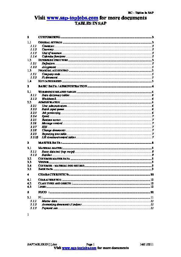 PDF) SAP TABLE REF | Alexandre Tadeu de Almeida - Academia edu