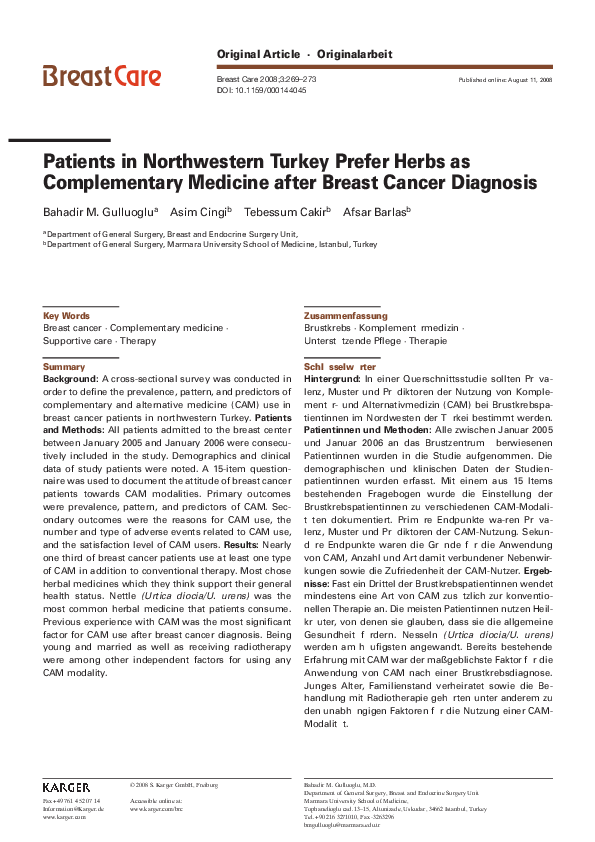 PDF) Patients in Northwestern Turkey Prefer Herbs as