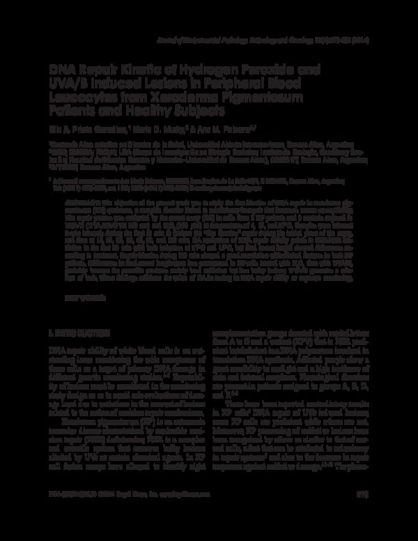 PDF) DNA Repair Kinetic of Hydrogen Peroxide and UVA/B