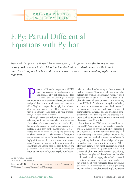 PDF) FiPy: Partial Differential Equations with Python