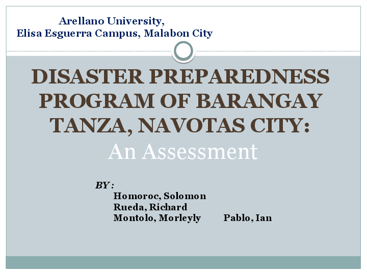 PPT) Disaster Preparedness Program of Barangay Tanza