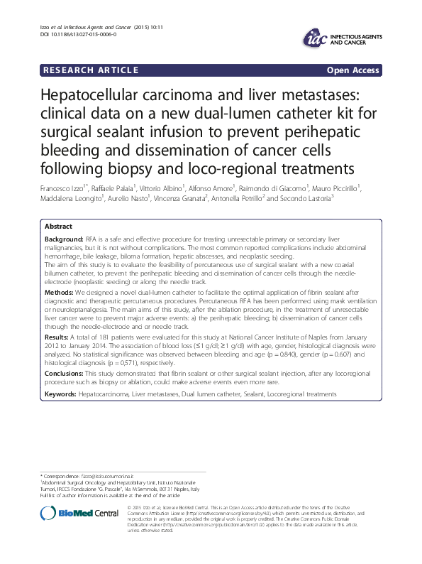 PDF) Hepatocellular carcinoma and liver metastases: clinical
