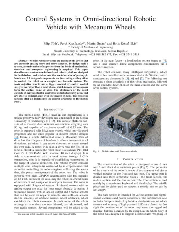 PDF) Control systems in omni-directional robotic vehicle with