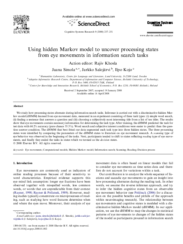 PDF) Using hidden Markov model to uncover processing states