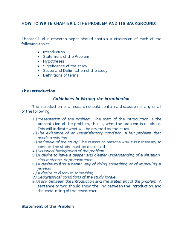 Dissertation background problem