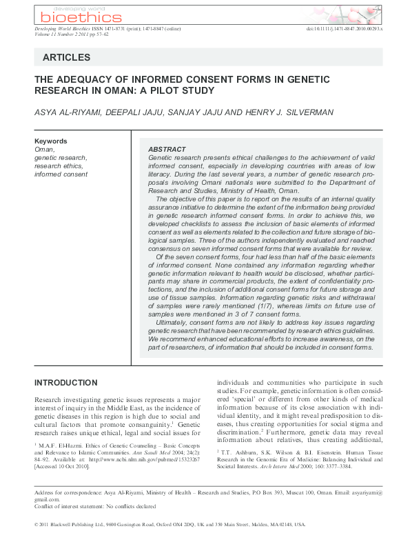 Pdf The Adequacy Of Informed Consent Forms In Genetic Research In Oman A Pilot Study A Riyami Academia Edu