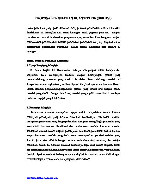 Pdf Proposal Penelitian Kuantitatif Skripsi Dayat Li Academia Edu
