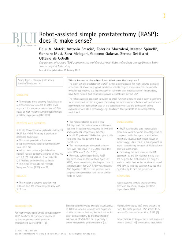Pdf Robot Assisted Simple Prostatectomy Rasp Does It Make