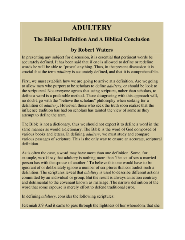 PDF) ADULLTERY, The Biblical Definition And A Biblical Conclusion
