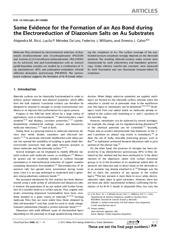 PDF) Some Evidence for the Formation of an Azo Bond during