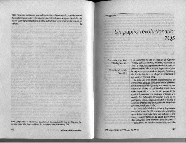 PDF) 7Q5, A Revolutionary Papyrus: An Interview with Jose O ...