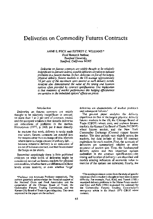 PDF) Deliveries on Commodity Futures Contracts | Jeffrey C