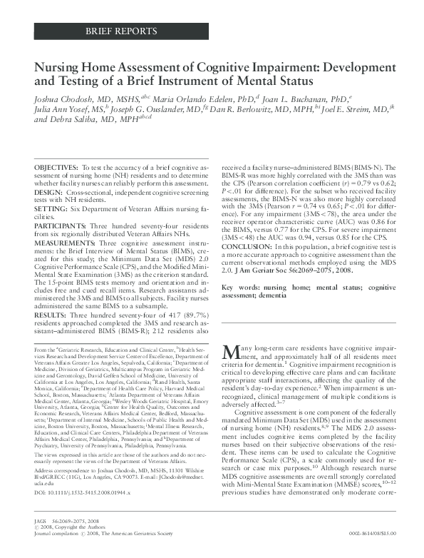 PDF) Nursing Home Assessment of Cognitive Impairment