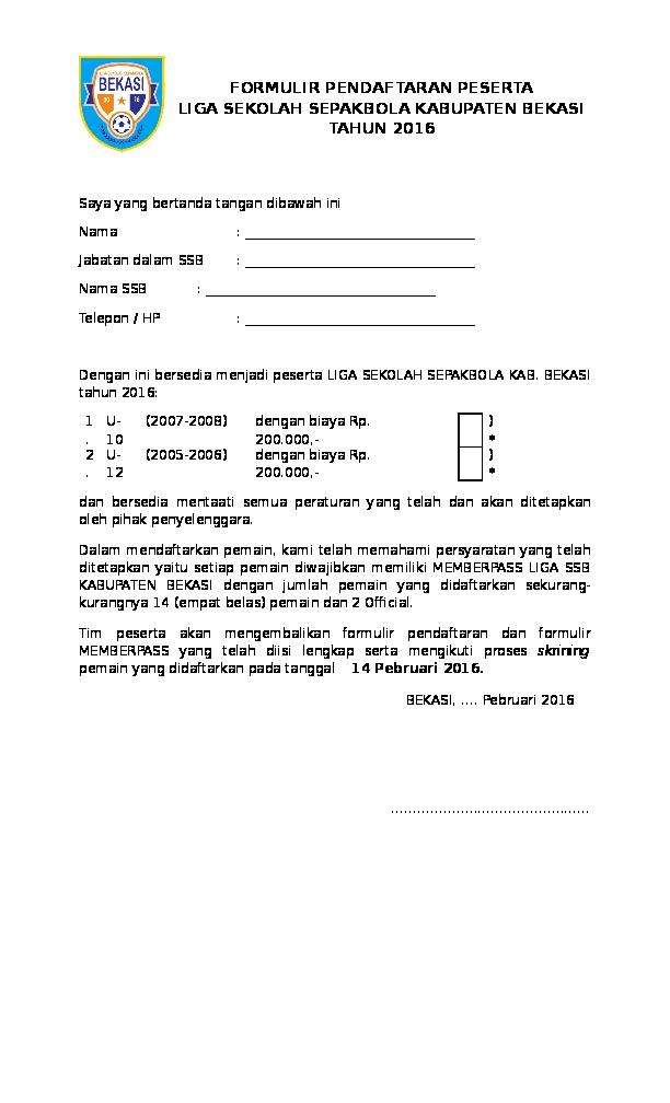 Contoh Format Daftar Pemain Sepak Bola - Joonka