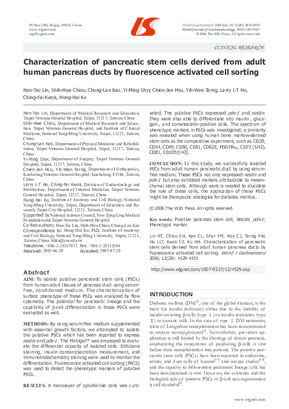 PDF) Characterization of pancreatic stem cells derived from