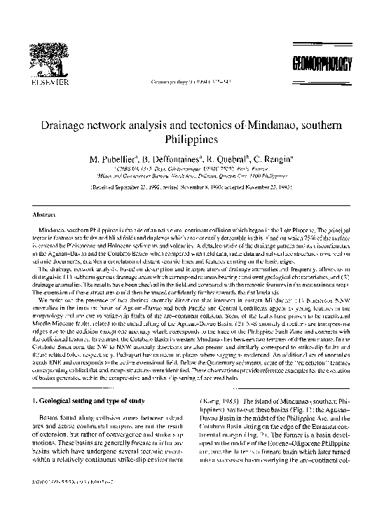 PDF) Drainage network analysis and tectonics of Mindanao