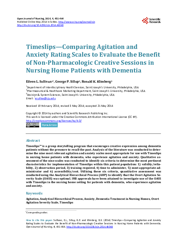 (PDF) Timeslips—Comparing Agitation and Anxiety Rating ...