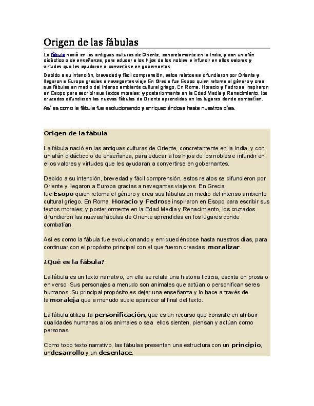 Doc Origen De Las Fábulas Leydi Nicol Academia Edu