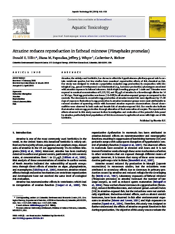 PDF) Atrazine reduces reproduction in fathead minnow
