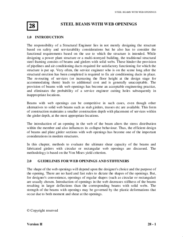 PDF) STEEL BEAMS WITH WEB OPENINGS STEEL BEAMS WITH WEB