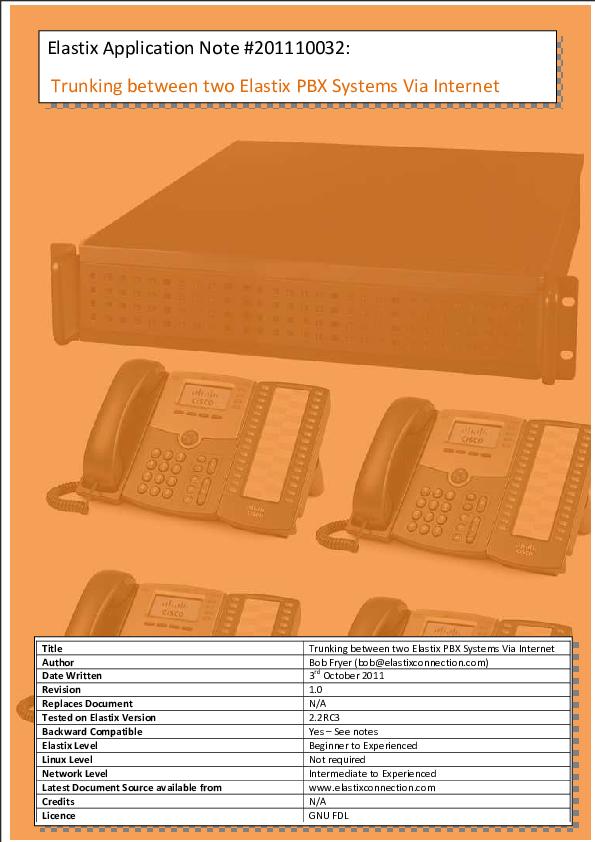 PDF) Trunking between two Elastix PBX systems via Internet
