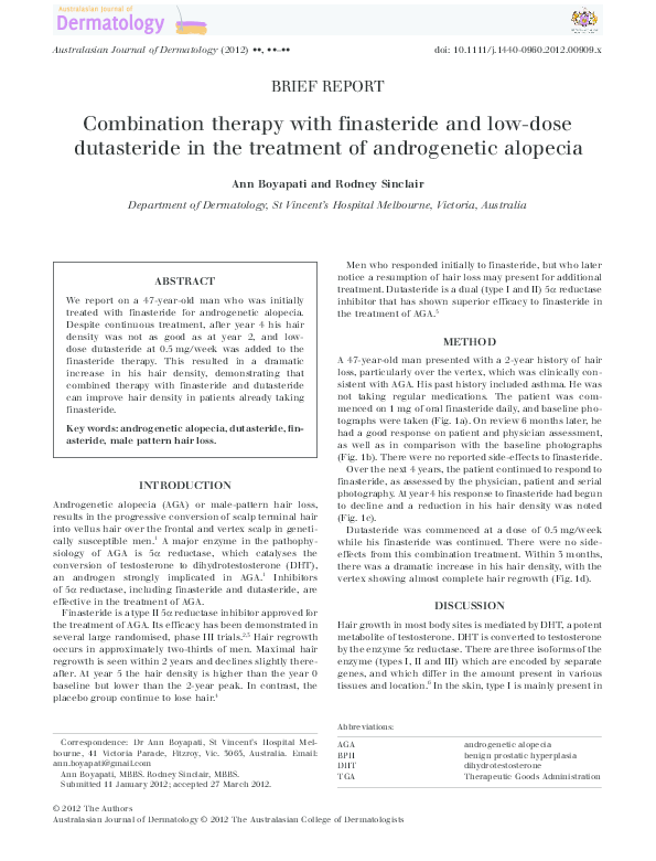 Pdf Combination Therapy With Finasteride And Low Dose Dutasteride In The Treatment Of Androgenetic Alopecia Rodney Sinclair Academia Edu