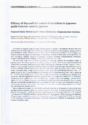 PDF) Efficacy of Baycox for control of coccidiosis in
