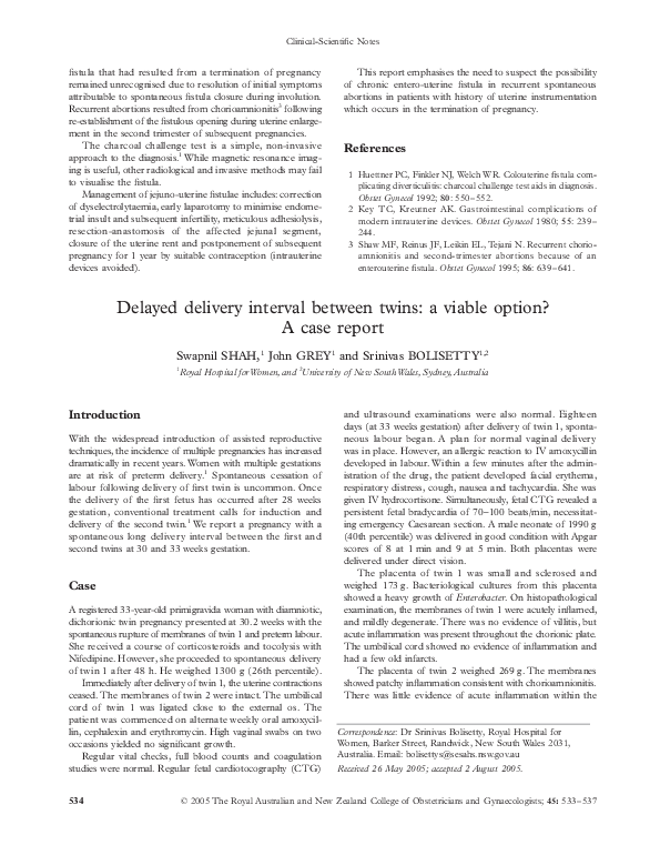 PDF) Delayed delivery interval between twins: a viable