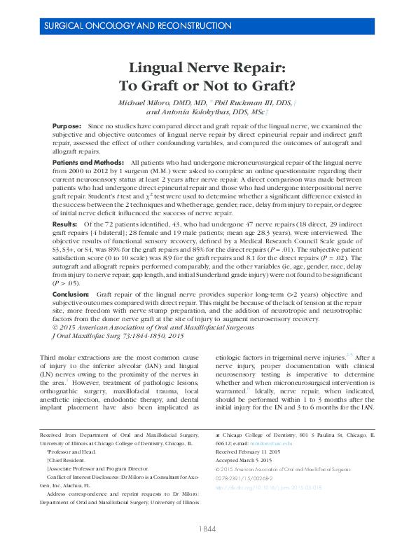 PDF) Lingual Nerve Repair: To Graft or Not to Graft? | Michael