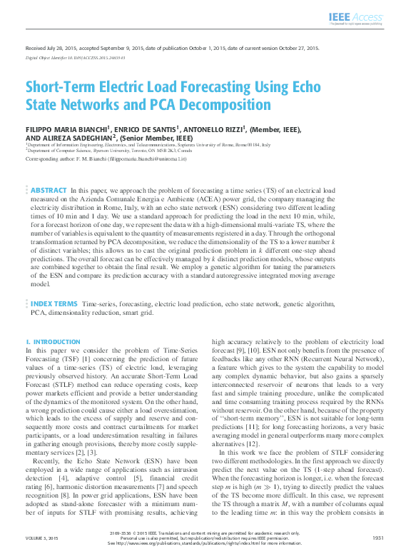 PDF) Short-term electric load forecasting using echo state