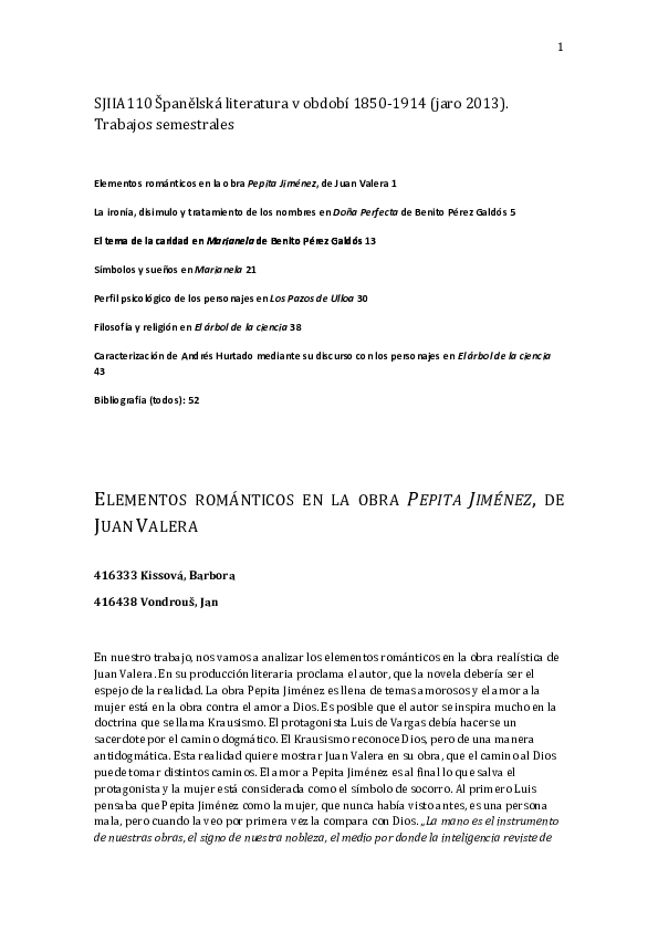 PDF) Trabajos semestrales SJIIA110 Spanelska literatura v