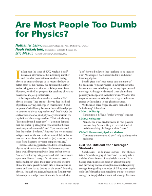 PDF) Are Most People Too Dumb for Physics? | N  Finkelstein
