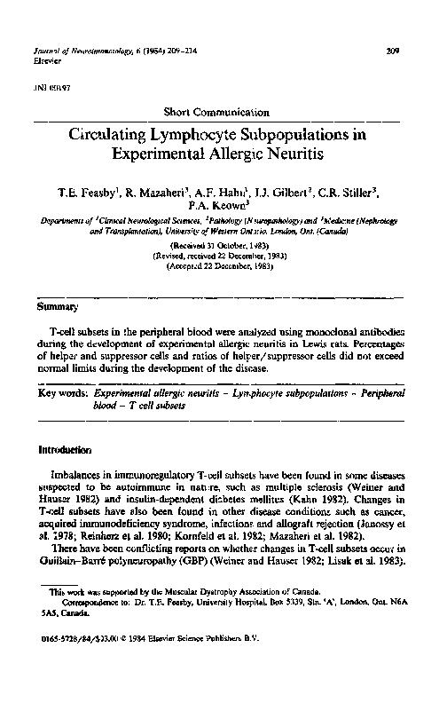 PDF) Circulating lymphocyte subpopulations in experimental
