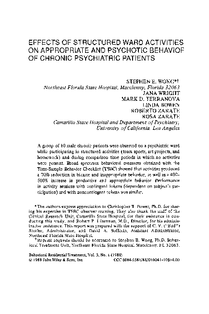 Effects Of Structured Ward Activities On Appropriate And Psychotic