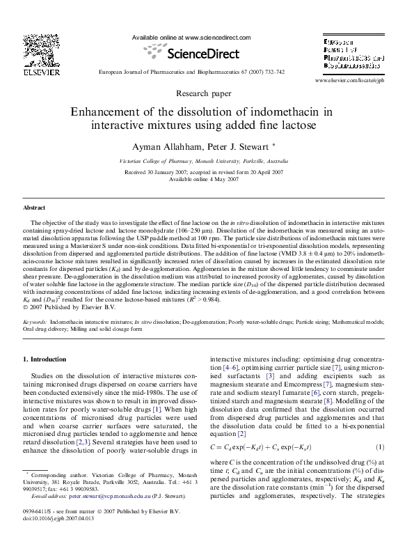 PDF) Enhancement of the dissolution of indomethacin in