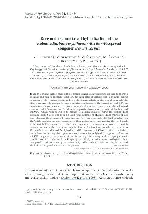 PDF) Rare and asymmetrical hybridization of the endemic