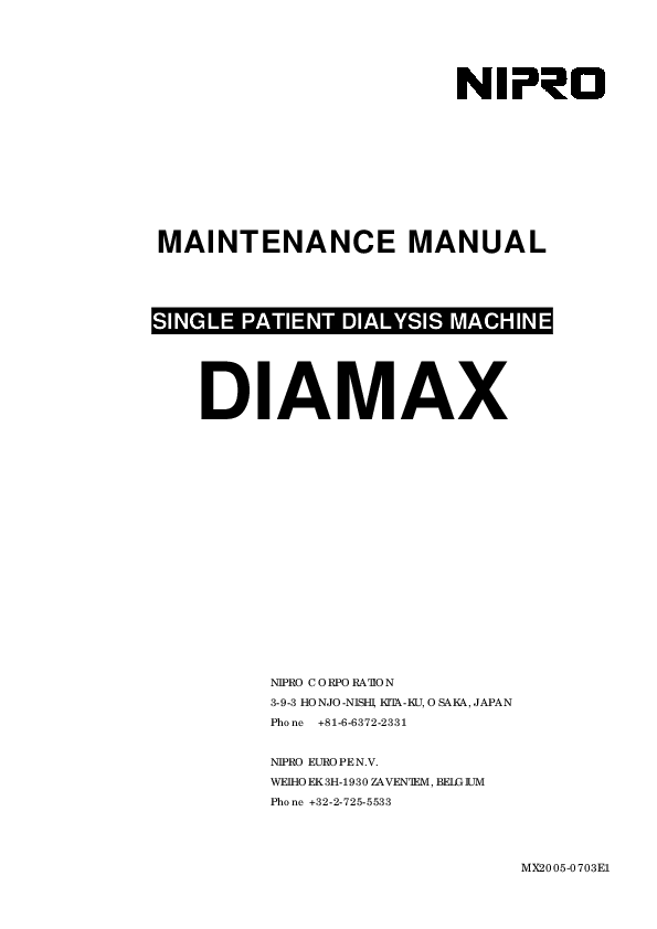 PDF) MX2005-0703E1 MAINTENANCE MANUAL SINGLE PATIENT
