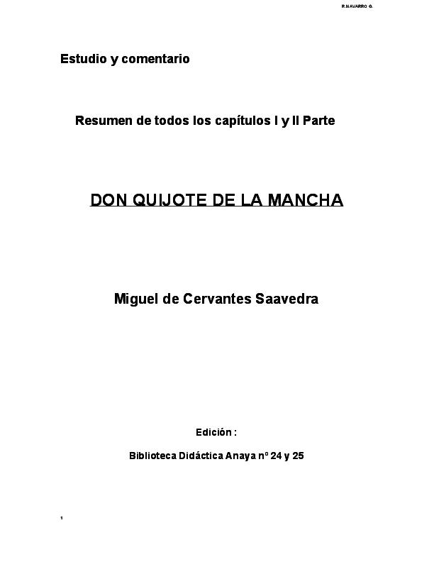 Doc Estudio Y Comentario Resumen De Todos Los Capitulos I Y Ii Parte Don Quijote De La Mancha Maita Bastidas Academia Edu