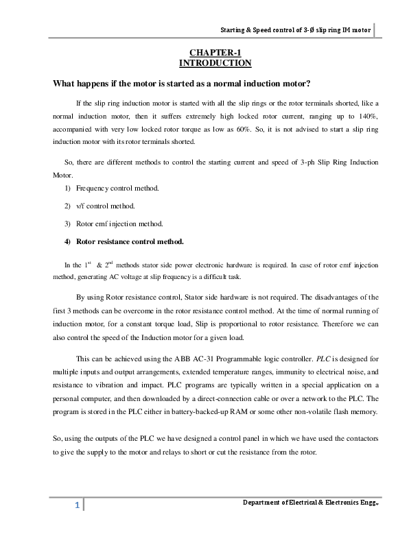 PDF) Starting & Speed control of 3-Ø slip ring IM motor