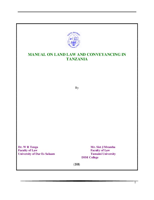PDF) MANUAL ON LAND LAW AND CONVEYANCING IN TANZANIA