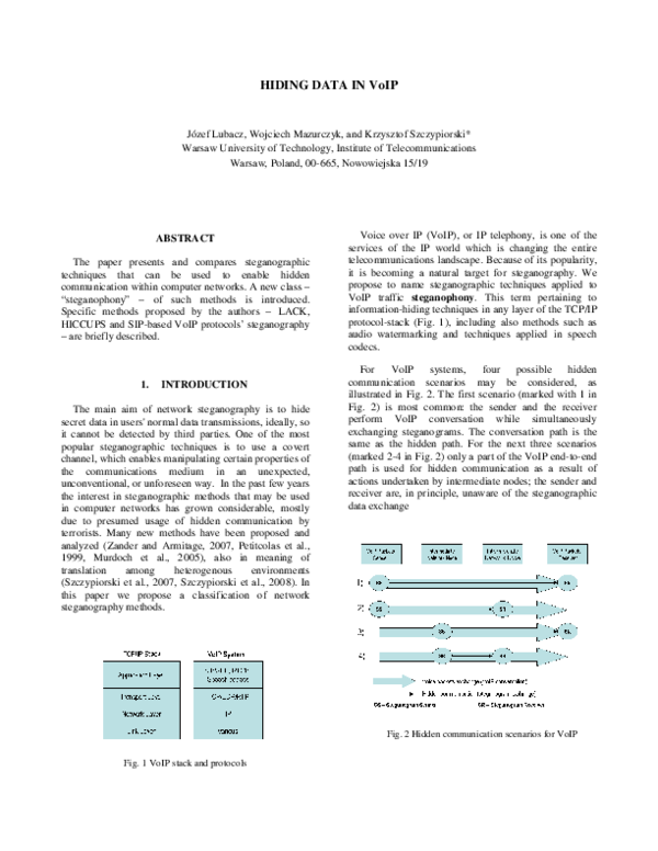 PDF) Hiding data in VoIP | K  Szczypiorski - Academia edu